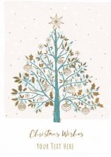 Tree and Gold Baubles Front Personalised Card