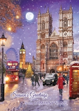 Westminster Abbey in the Snow Front Personalised Card