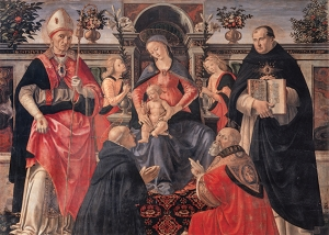 Madonna and Child Enthroned between Angels and Saints Card